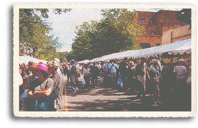 The crowds are huge at the world famous Indian Market held annually in downtown Santa Fe, New Mexico. Indian Market is held for three days in August on the historic Santa Fe Plaza and the adjacent Palace of the Governors.